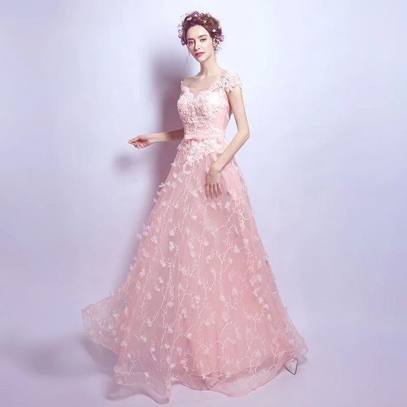 Dresses | Light Pink Evening Gown With Lace And Flowers | Poshmark